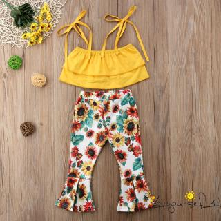♛loveyourself1♛-Kids Baby Girl Crop Tops+Floral Pants Outfit Set