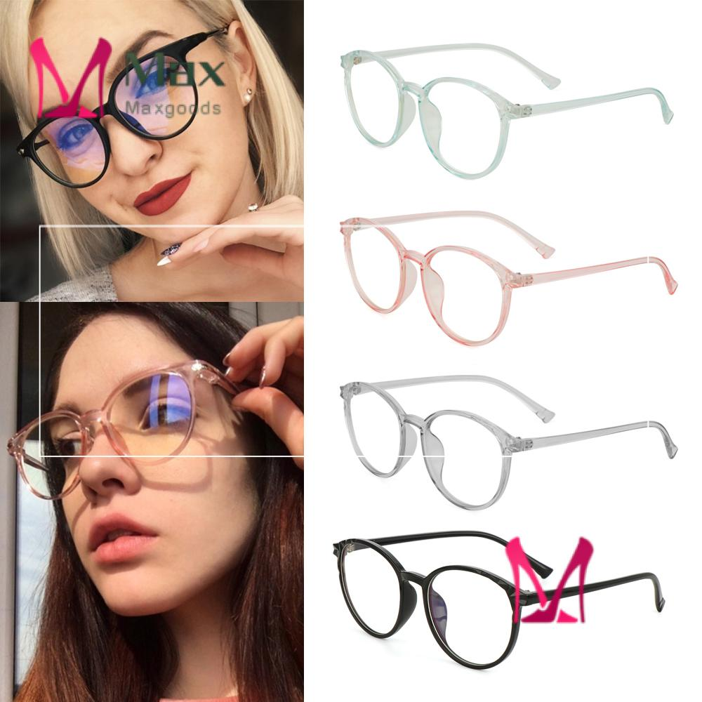 💋MAX Unisex Vintage Eyeglasses Clear Lens Flat Mirror Eyewear Optical Eye Glasses Reduces Eye Strain Transparent Round Frame High-definition Ultralight Cool Anti-Blue Rays/Multicolor