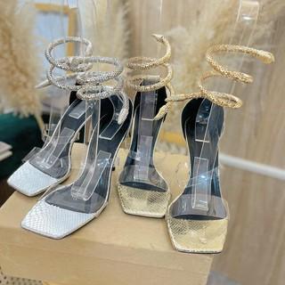 Sandal cao gót hai quai trong dây rắn đá xoắn cổ chân - Sandal dây đá xoắn cổ chân Chile