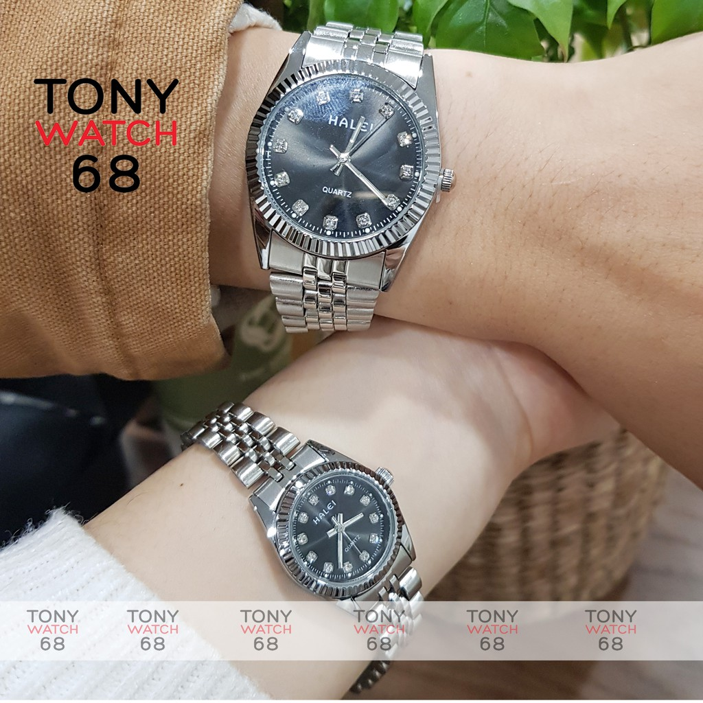 Đồng hồ cặp đôi nam nữ Halei dây kim loại mặt đen sang trọng Tony Watch 68