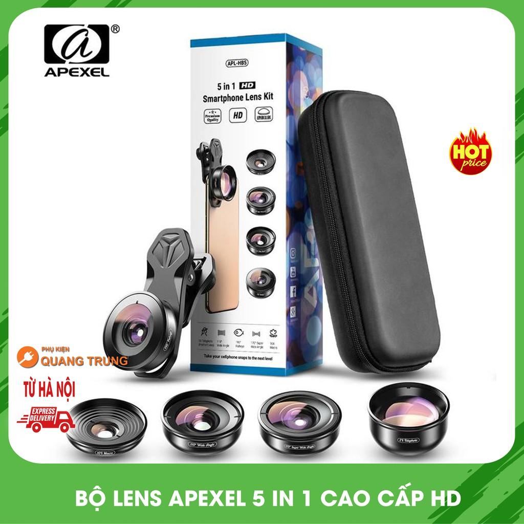 Bộ lens 5in1 apexel,ống kính chụp ảnh 4K cho điện thoại,smartphone,lens góc rộng,lens macro,lens mắt cá,lens chân dung