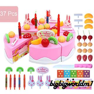 ❀Yaho❀37PCS/Set DIY Birthday Cake Model Toy Play Food Child Kids Early Educational Toy