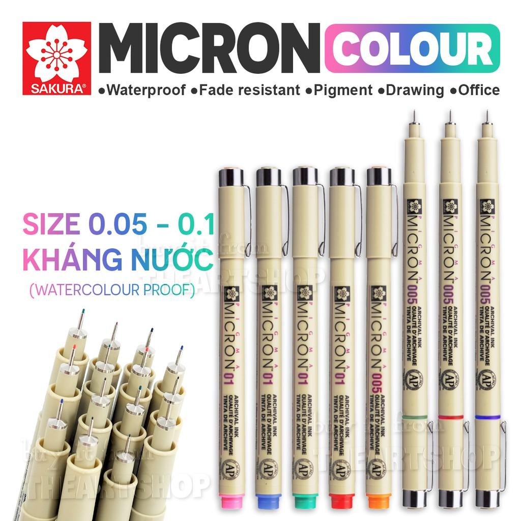 Bút line màu đi nét chuyên nghiệp SAKURA PIGMA MICRON size 0.05 0.1