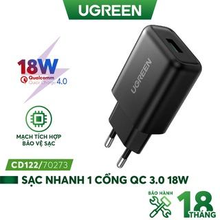 Sạc nhanh 1 cổng USB-A UGREEN CD122 - Hỗ trợ Qualcomm Quick Charge 3.0 công suất 18W thumbnail
