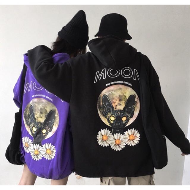 Moon cat hoodie ( ĐEN - TÍM )- ORDER THÁNG 9