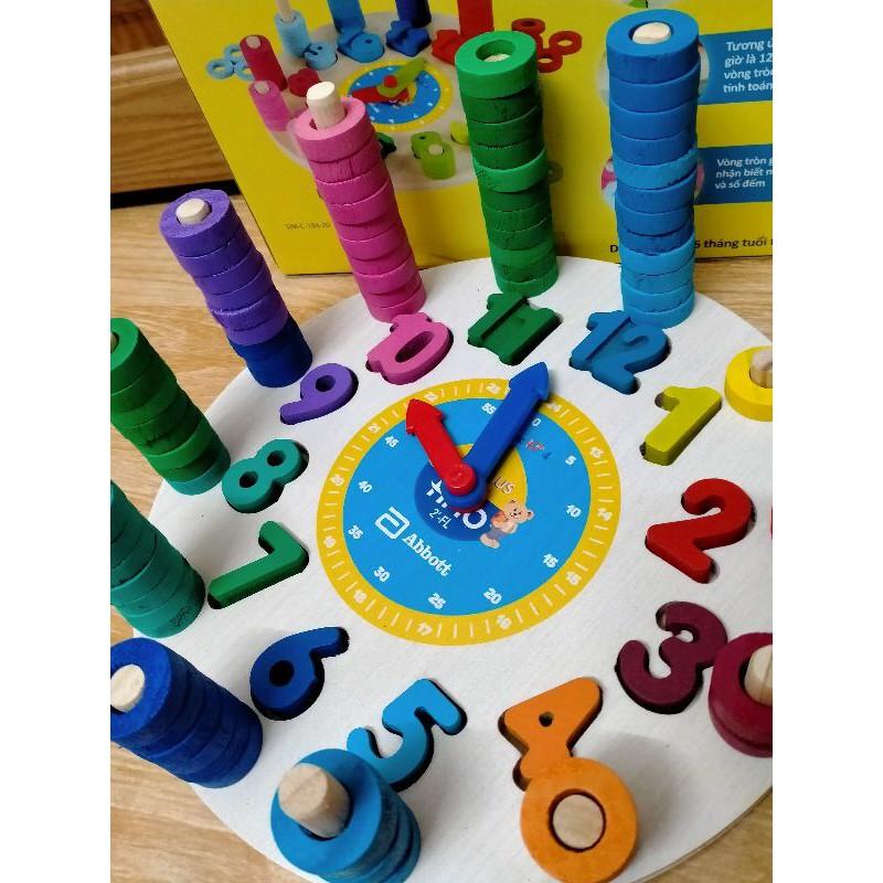 Đồng hồ gỗ cho bé học số, tập đếm, học màu sắc
