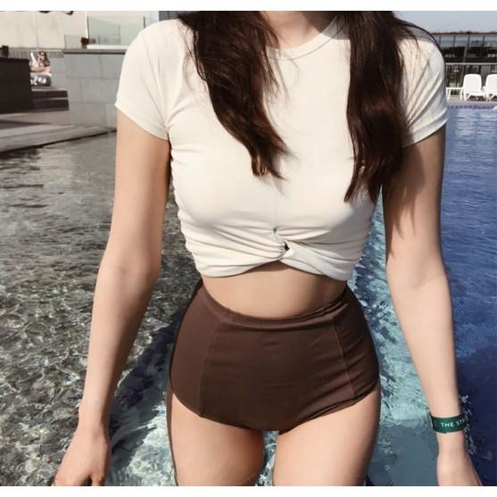 Act cool Bikini đồ bơi tay dài kín đáo màu hồng dễ thương Cực cute