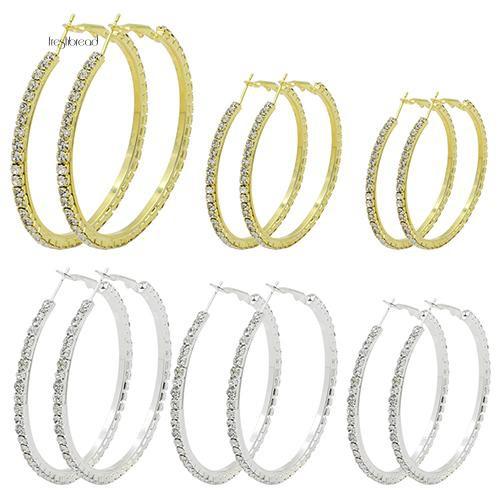 Đôi khuyên tai hình vòng tròn lớn đính kim cương giả thời trang cho nữ