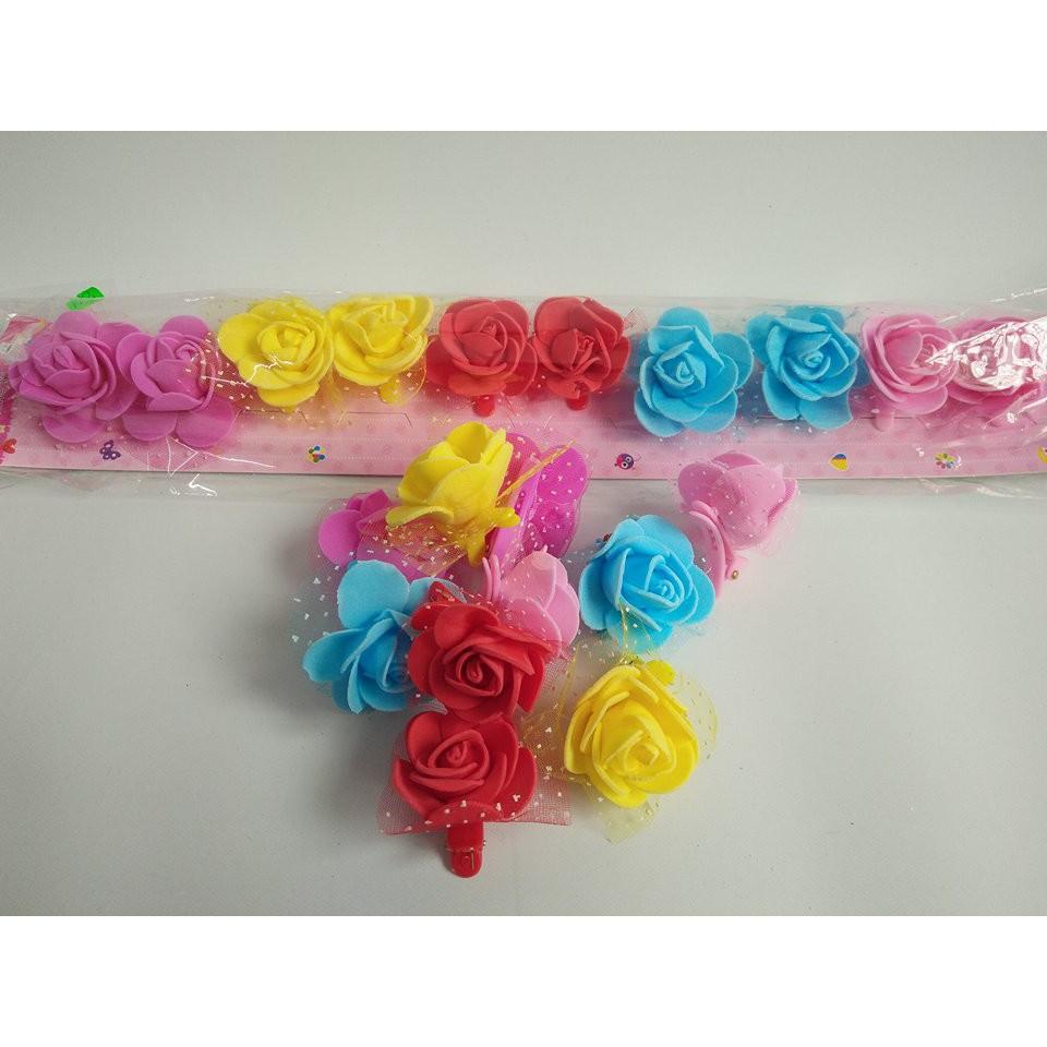Vỉ 10 chiếc kẹp tóc hoa hồng đáng yêu xinh xắn