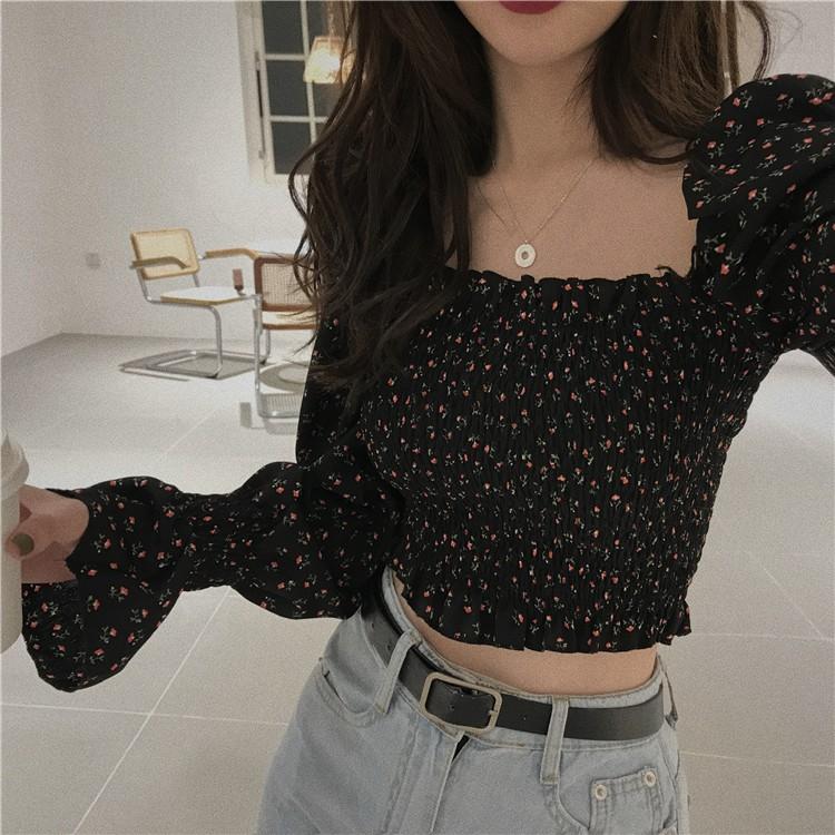 Mặc gì đẹp: Gợi cảm với Áo hoa nhí vintage - Màu đen DA095