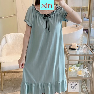 New With Chest Cushion Nightmare Summer Thin Cotton Short-Sleeved Student Pajamas Spring And Summer Loose Princess Wind