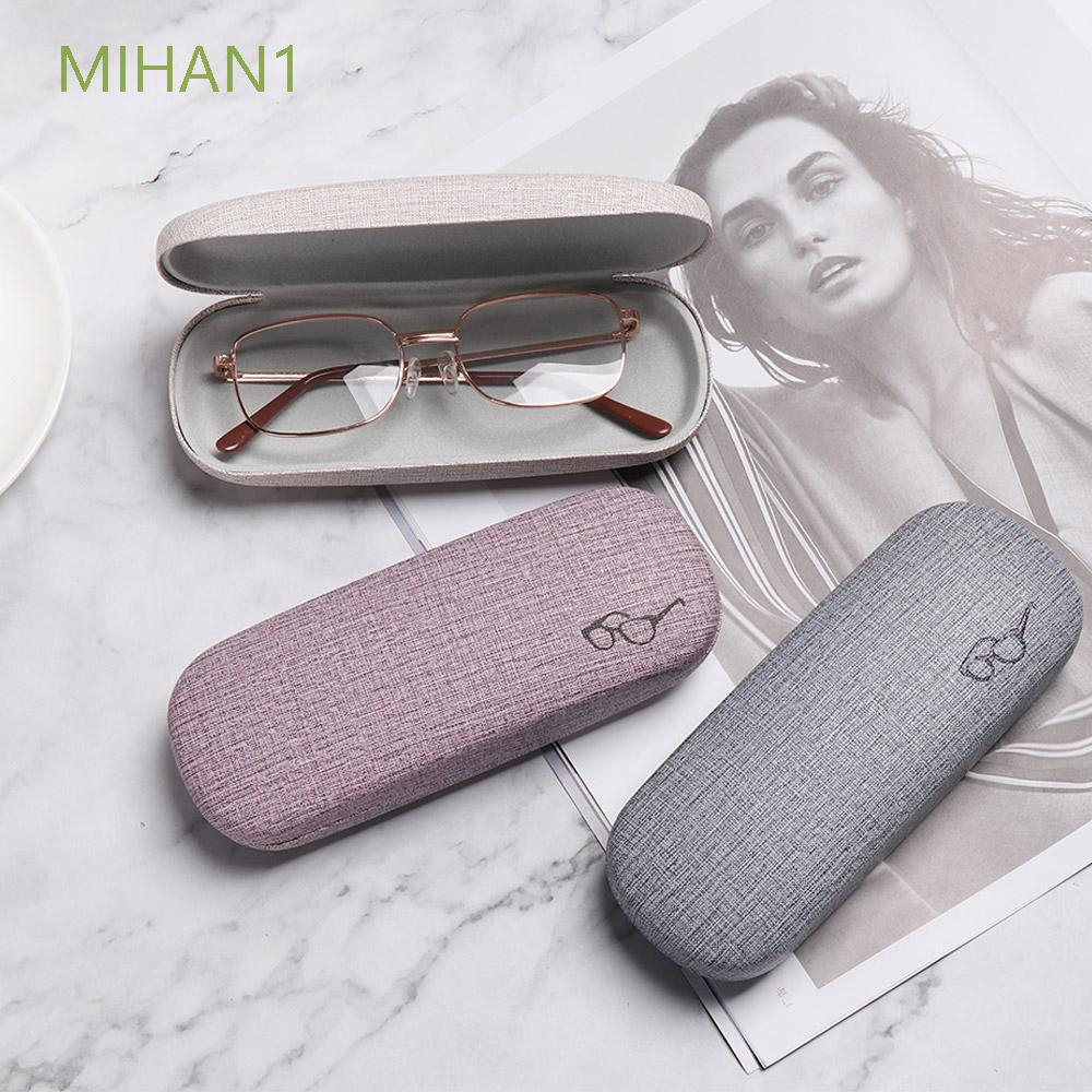 MIHAN1 Portable Vintage Simple Glasses Logo Hard Leather Candy Color Glasses Box