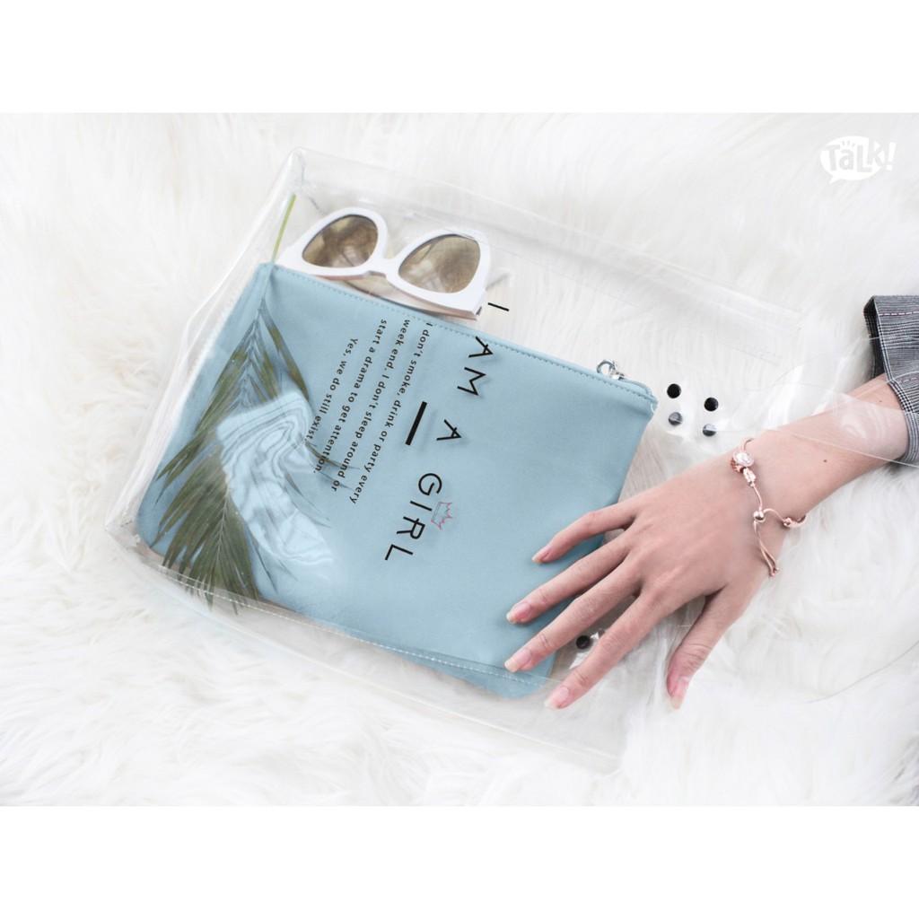 Combo túi xách trong suốt và ví cầm tay clutch màu xanh Aqua