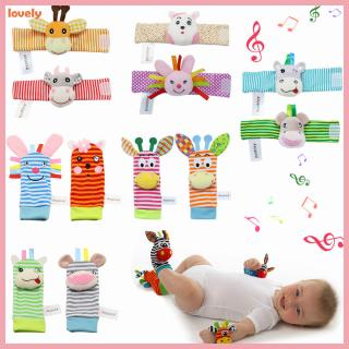 Infant Baby Animals Socks Rattle Toys Kids Wrist Rattle Foot Socks Intelligence Toys