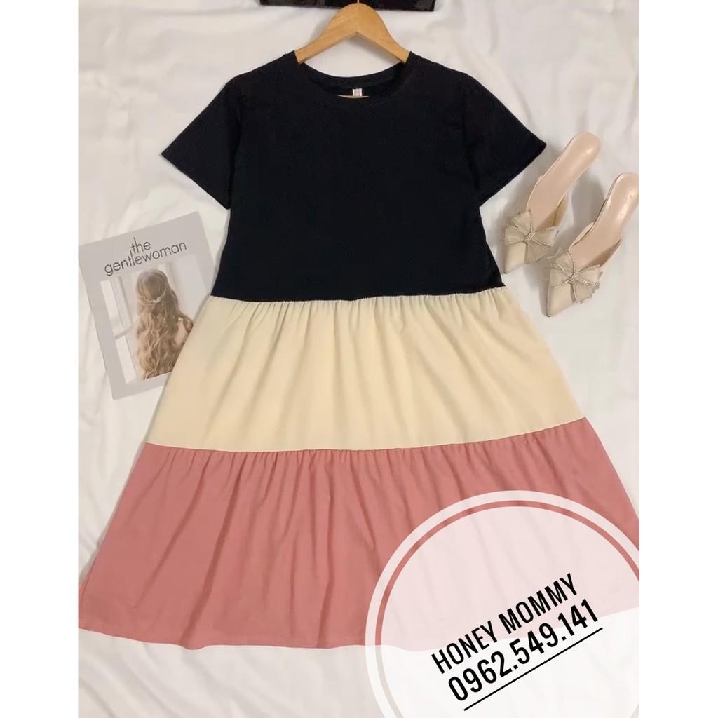 Mặc gì đẹp: Dễ chịu với Đầm Bầu Váy Bầu Thun Cotton Dáng Suông Xòe Mùa Hè Tay Ngắn Vải Mát HD2817 Honey Mommy