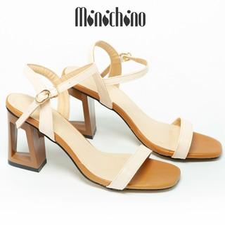 Giày sandal nữ gót cao 7cm MINICHINO đế khoét lỗ hở mũi, phối dây thời trang màu kem TC044 thumbnail