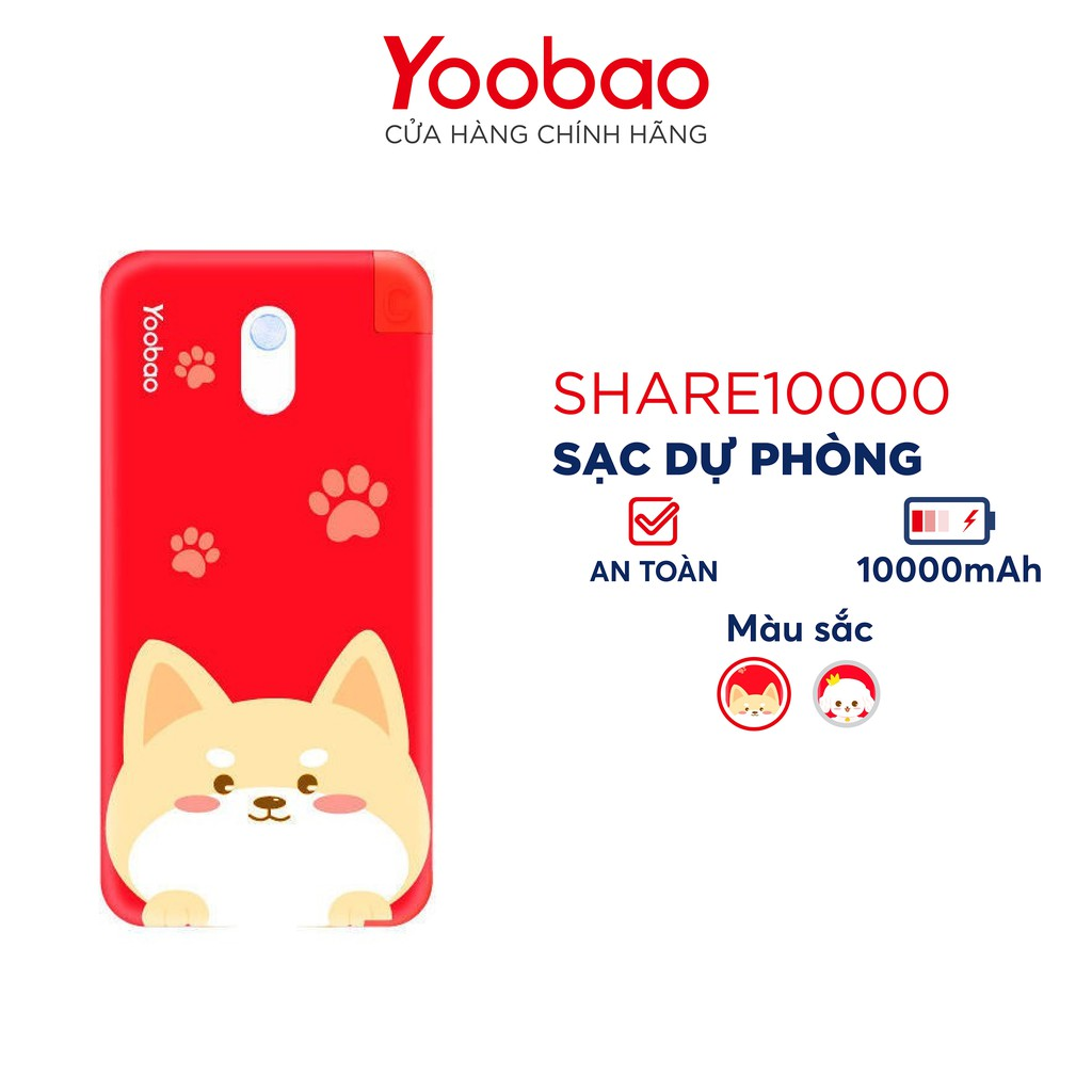 YOOB80K giảm 80K] Sạc dự phòng Yoobao 10000 mAh Share10000 chính hãng