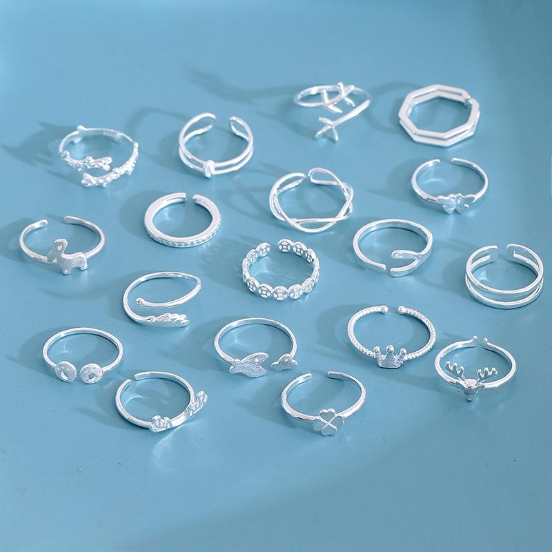 Nhẫn thép không gỉ thiết kế hở có thể điều chỉnh kiểu dáng cổ điển cho nữ