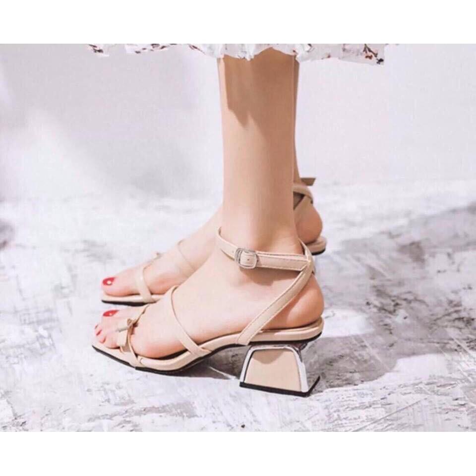 Giày sandal/ dép sandal ba dây khuy cạnh gót vuông 5p sang chảnh vnxk mã S12