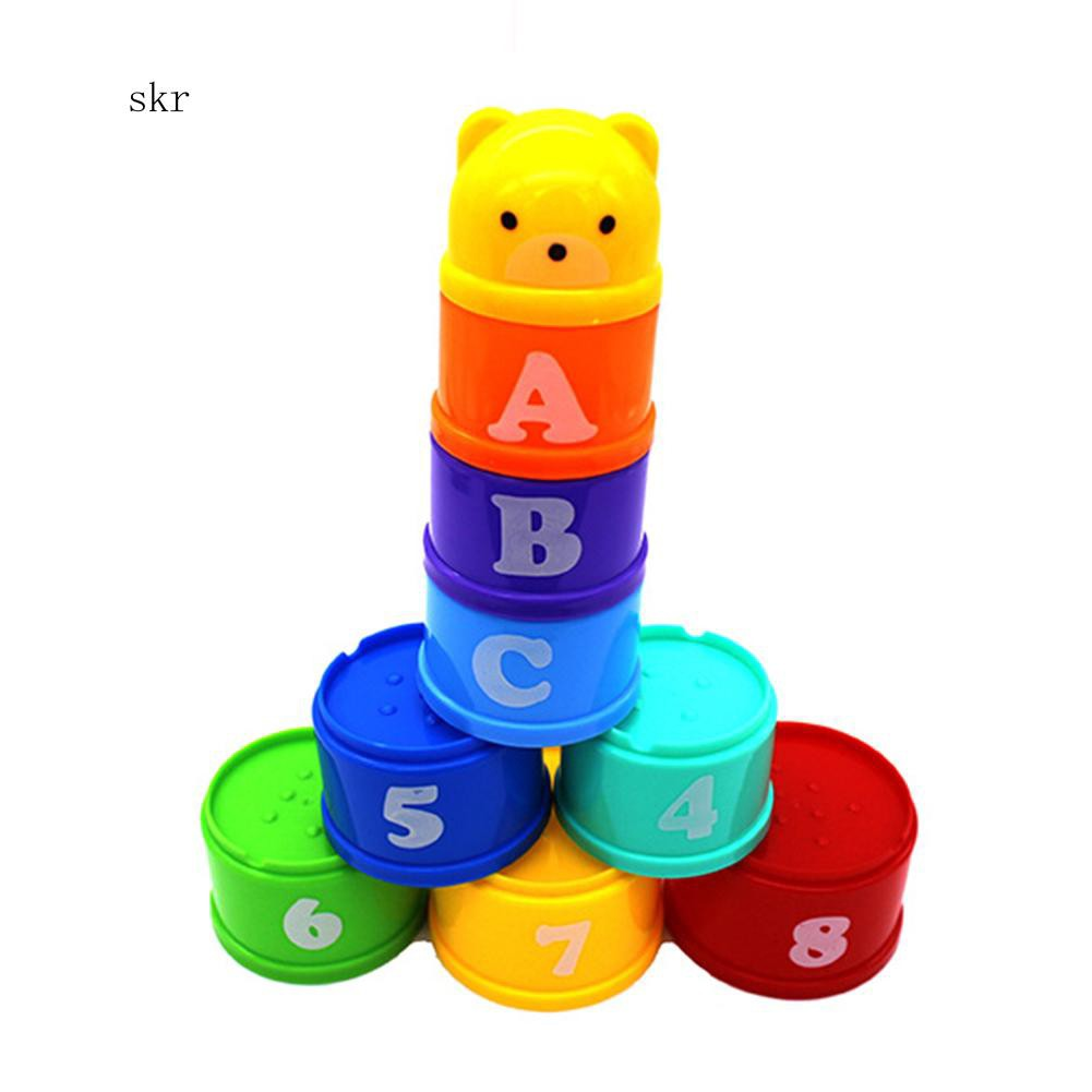 SKR♛9Pcs Bear Figure Letters Folding Stack Cup Tower Baby Kids Early Educational Toy