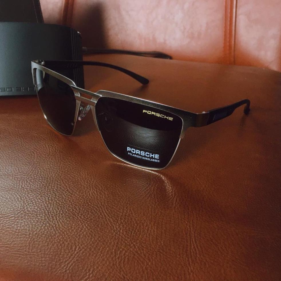 Kính mắt vuông thời trang nam Poscher polaroid cao cấp, kính râm gọng vuông nam AZ1