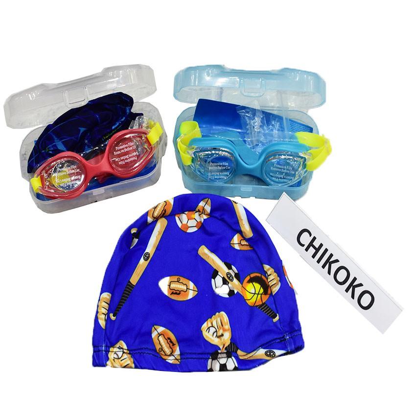 Full hộp kính bơi+mũ+nút bịt tai cho bé( Giao màu ngẫu nhiên)