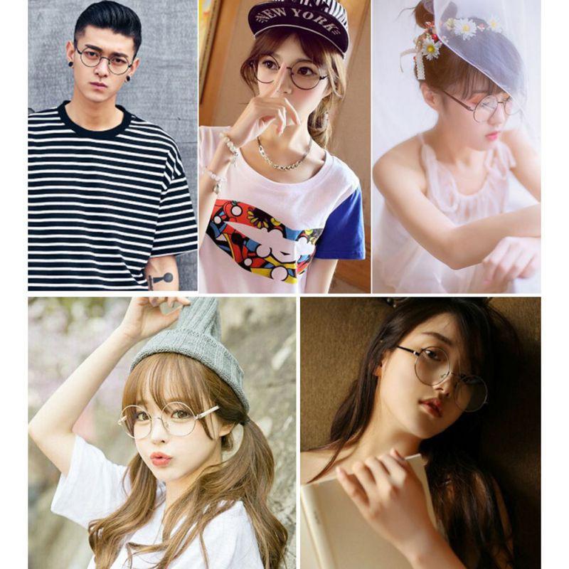 Mắt kính gọng kim loại dáng tròn phong cách Hàn Quốc