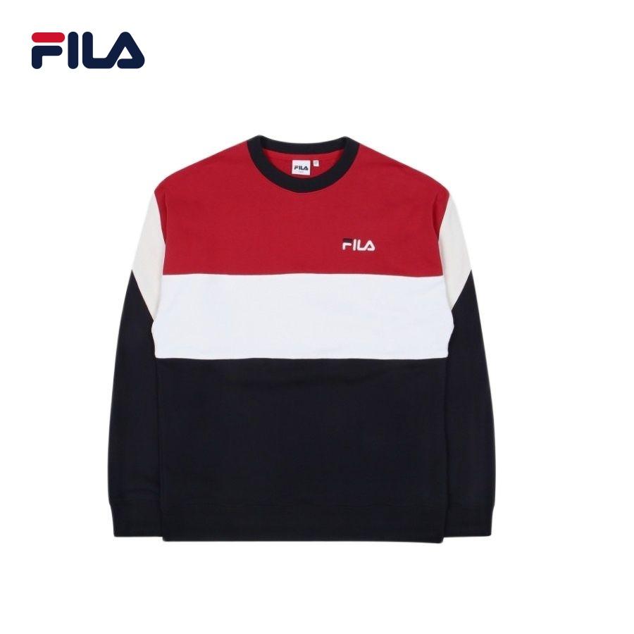 Áo hoodie tay dài không nón unisex Fila Color Block MTM 1 - BTS Global Inline - FS2POC1105X-ROR