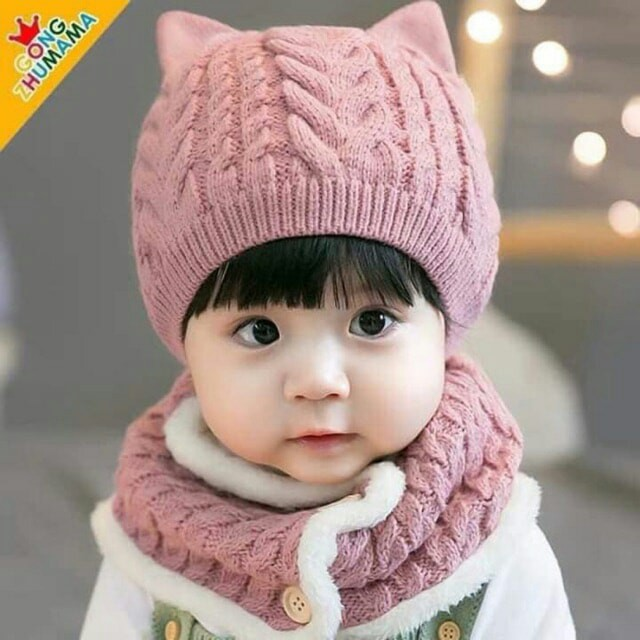 Set mũ len tai mèo kèm khăn Lót Lông Siêu Xinh cho bé