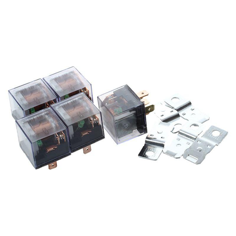 🌠5Pcs 1NC+1NO SPDT 5P Green Lamp Car Relay DC 12V 80A