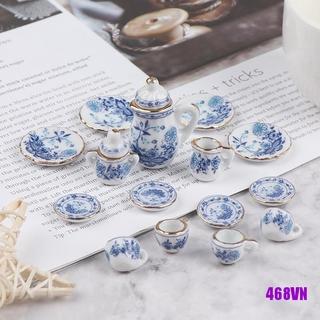 [DOU]15Pcs 1:12 Dollhouse Miniature Tableware Porcelain Ceramic Tea Cup Set