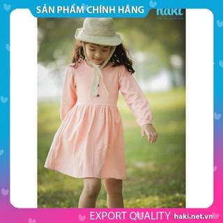 ⚡️HÀNG VIỆT NAM XUẤT KHẨU⚡️ Váy bé gái dài tay Haki vải Linen cao cấp Hồng HK493.1 - Váy thiết kế cho bé gái