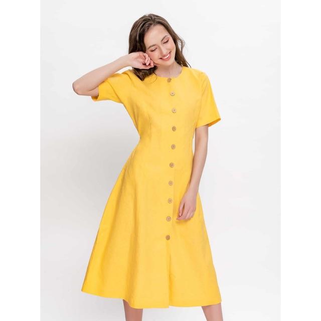 Đầm Linen Ngắn Tay Vàng - YV LE