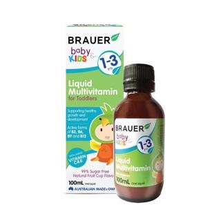 Siro Vitamin Tổng Hợp Brauer Liquid MultiVitamin 100ml tăng cường hệ miễn dịch và hỗ trợ phát triển cho trẻ từ 1-3 tuổi