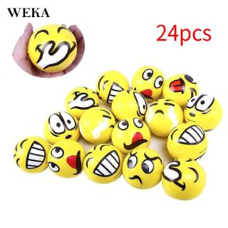 24pcs Emoticon Stress Balls Smile Face 63mm For Kids Adult Relief Beautiful