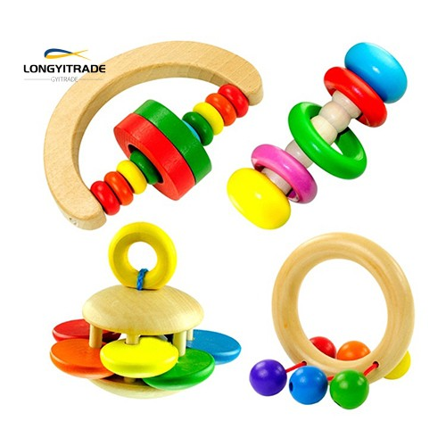 Kids  Wooden Rattle Toy Handbell Musical Education Bell Toys