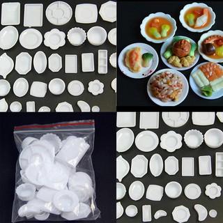 MT 33 Pcs Dollhouse Miniature Tableware Plastic Plate Dishes Set Mini Food NY