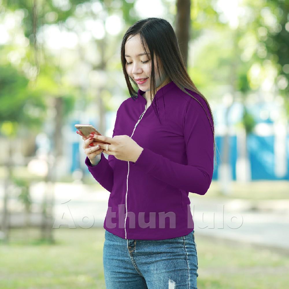 Áo thun nữ cổ lãnh tụ dây kéo dài tay dài - Tím - 21594492 , 1010698067 , 322_1010698067 , 195000 , Ao-thun-nu-co-lanh-tu-day-keo-dai-tay-dai-Tim-322_1010698067 , shopee.vn , Áo thun nữ cổ lãnh tụ dây kéo dài tay dài - Tím