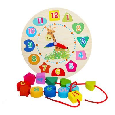 Đồ chơi đồng hồ gỗ kèm xâu hạt cho bé