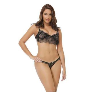 *Simba**Women's Lace Hot Rhinestone Sling Hollow Perspective Sexy Underwear Set
