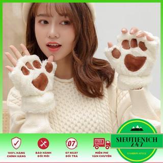 Găng tay nửa ngón giữ ấm mùa đông thiết kế hình chân gấu cho nữ thumbnail