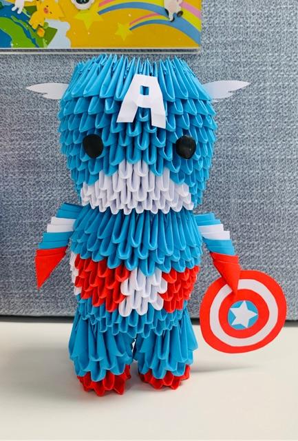 Handmade Captain America 3D Origami Siêu Dễ Thương