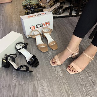 Sandal 1 quai ngang da bóng trụ 5cm (vnxk)