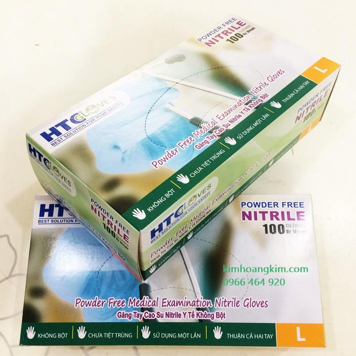 [GIẢM GIÁ] Găng tay cao su y tế HTC Nitrile không bột