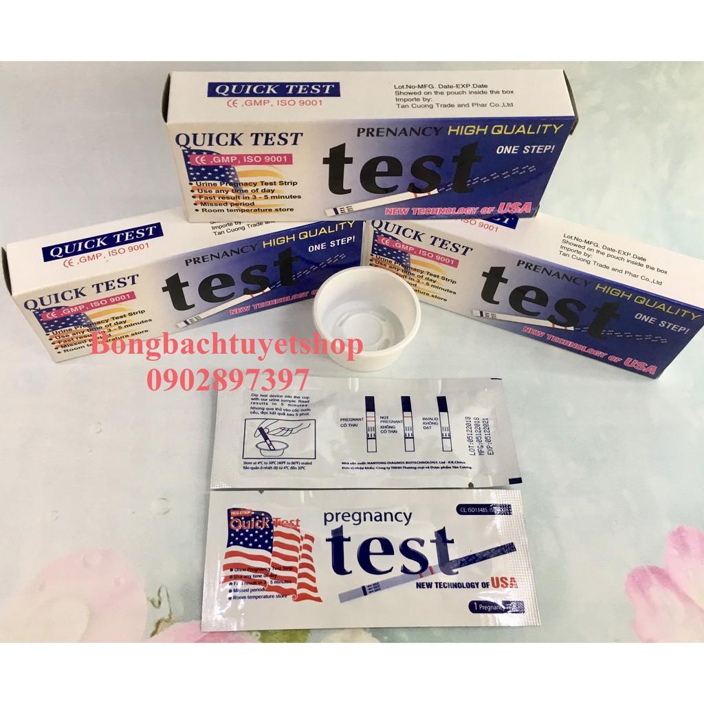 Combo 20 Que Thử Thai Quick Test không vỏ hộp gọn nhẹ tiết kiệm phí ship