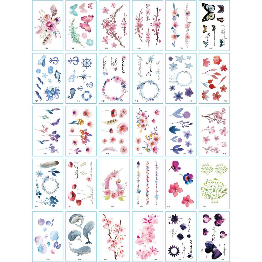 131 Hình Xăm Dán Tatoo Hoạ Tiết Nhỏ Dễ Thương Vòng Hoa, Cá, Trái Tim, Bướm