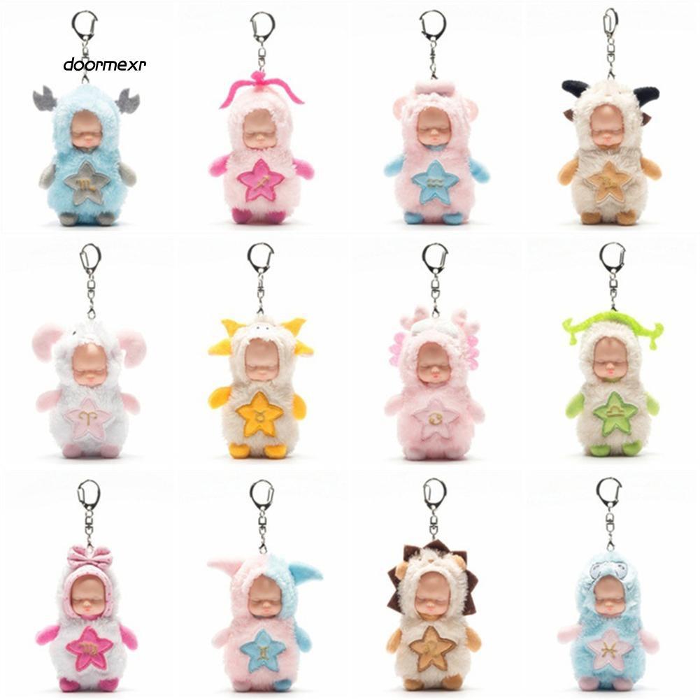 DOOM_Cute Twelve Constellations Simulation Cartoon Sleep Baby Doll Key Chain Keyring