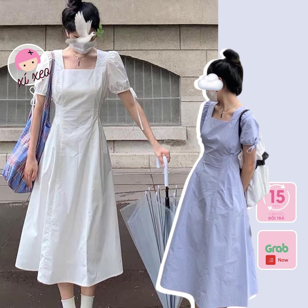 Váy dài trắng xanh đầm xoè thắt nơ lưng phong cách ulzzang xixeoshop - V47
