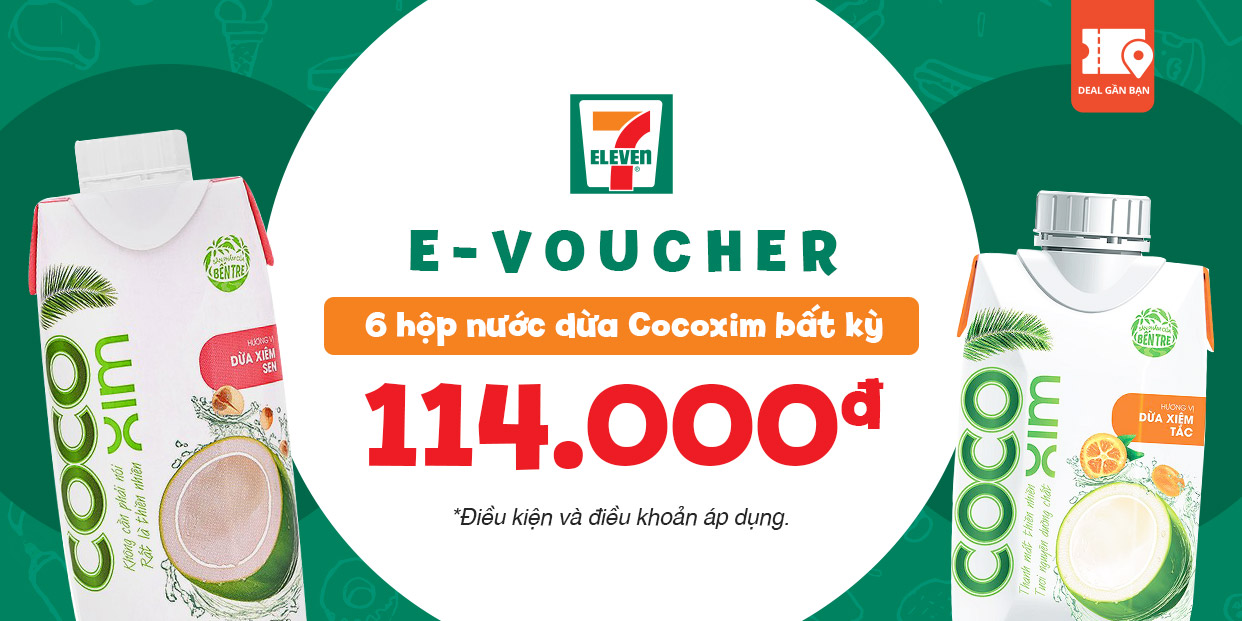 E-Voucher mua 6 hộp nước dừa Cocoxim bất kỳ tại 7-Eleven