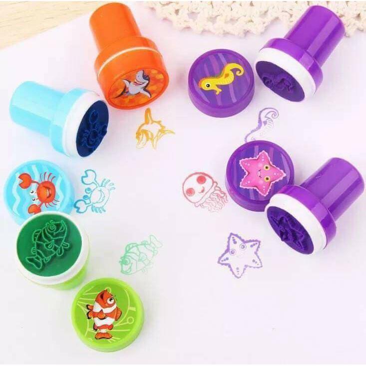 Bộ đồ chơi đóng dấu 12 con dấu cho bé vui học và chơi
